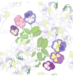 White seamless pattern with pansies vector