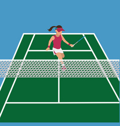 Woman in the tennis court play with racket vector