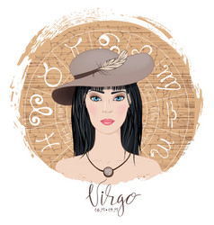 Zodiac signs virgo in image of beauty gi vector