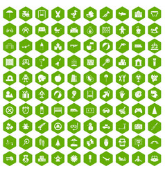 100 childhood icons hexagon green vector