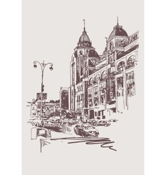 original sepia digital sketch of Kyiv Ukraine vector image