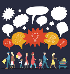 set of walking people with speech bubbles vector image