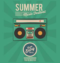summer music festival stereo radio vintage vector image