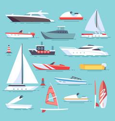 Sea boats and little fishing ships sailboats flat vector