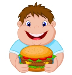 Fat boy cartoon smiling and ready to eat a big ham vector
