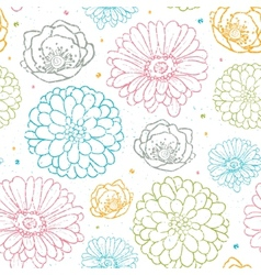 Chalk flowers colorful seamless pattern background vector image