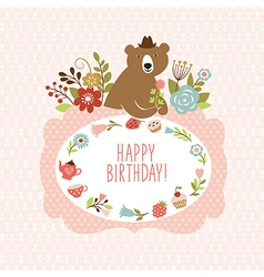Cute bear with flowers vector