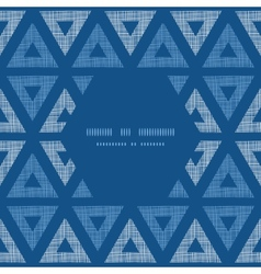 Abstract textile blue triangles ikat frame vector