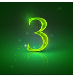 3 green glowing number three vector
