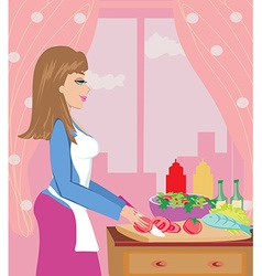Housewife prepares dinner vector