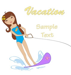 Attractive girl water skiing vector