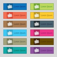 Close icon sign set of twelve rectangular colorful vector