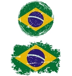 Brazilian round and square grunge flags vector