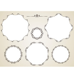 Calligraphic round frame vector