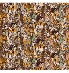 Crowd active young casual people seamless pattern vector