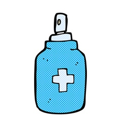 Comic cartoon antiseptic spray vector