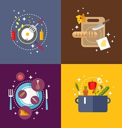 Set of flat design with kitchen appliances and vector