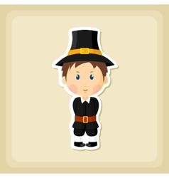 American pilgrim children icon thanksgiving day vector