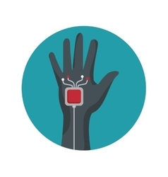 Augmented reality glove technology icon vector