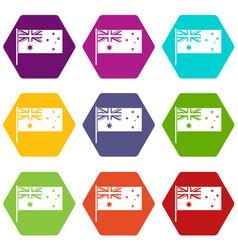 Australian flag icon set color hexahedron vector