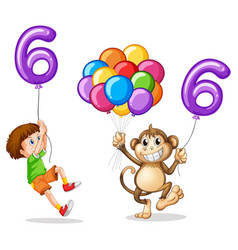 boy and monkey with balloon number six vector image