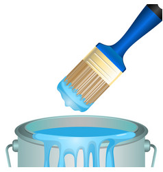 Bucket full of paint and convenient rounded brush vector