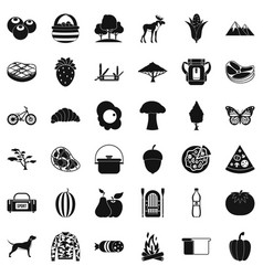 camping in nature icons set simple style vector image vector image