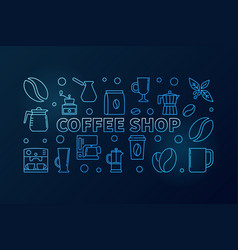 coffee shop blue horizontal concept vector image