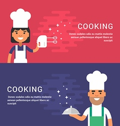 Cooking Concept Set of Flat Style for Web Banners vector image vector image
