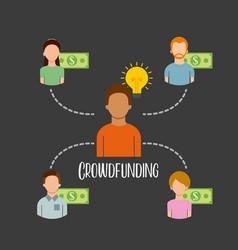Crowdfunding people sponsor capital money vector