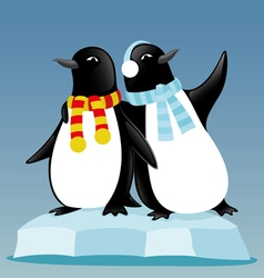 Cute penguins on an ice floe vector