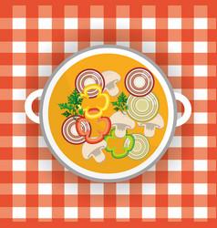Delicious healthy fresh vegetable soup vector