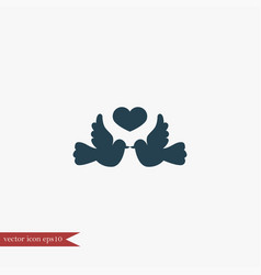 dove with heart icon simple vector image