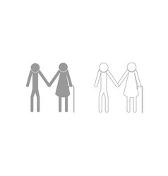 Elder people stick grey set icon vector