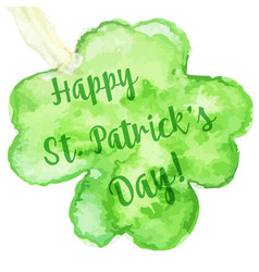 Elegant watercolor st patrick day greeting card vector