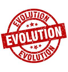 Evolution round red grunge stamp vector