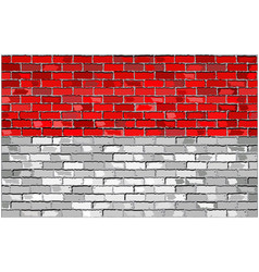 Flag of indonesia on a brick wall vector