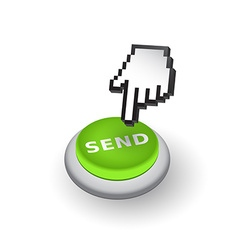 Green send push button sign emblem hand w vector
