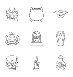Halloween holiday icons set outline style vector