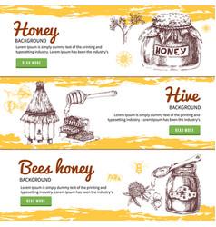 Honey hand drawn banners set vector
