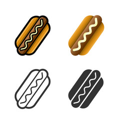 Hot dog colored icon set vector