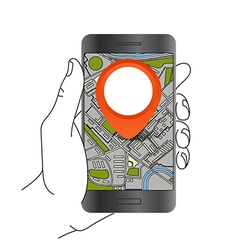 Modern smartphone with abstract city map Dark vector image