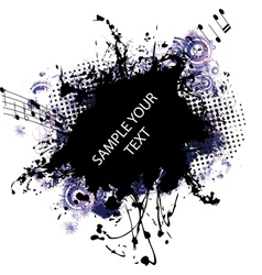 Music grunge frame blue vector