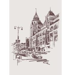 original sepia digital sketch of Kyiv Ukraine vector image vector image