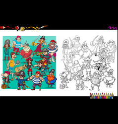 Pirate characters group coloring book vector