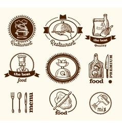 Restaurant label sketch vector
