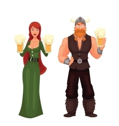 Scandinavian man and woman required to have a beer vector