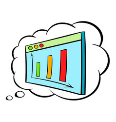 Screen with graph in speech cloud icon cartoon vector