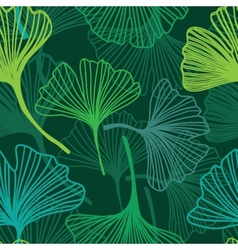 Seamless decorative flower background with ginkgo vector