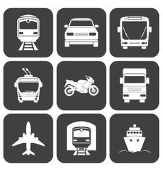 Simple monochromatic transport icons set vector